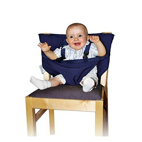 Highdas Desmontable y Ajustable Asiento Portatil Trona de Viaje para Bebé, color azul oscuro
