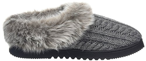 Dearfoams Damen Dearfoms Microsuede Clog With X-Stitch and Memory Foam Hausschuhe Grey (Dark Heather Grey 00073)