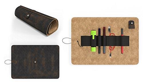 Piel Auténtica Piel Estuche de Cartón Roll Up Funda ~ ~ fabricado en Alemania.
