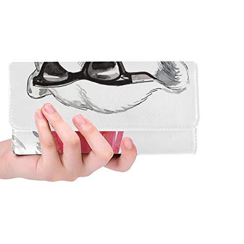 Einzigartige benutzerdefinierte Coole Eisbär Sonnenbrille rot Frauen Trifold Brieftasche Lange Geldbörse Kreditkarteninhaber Fall Handtasche