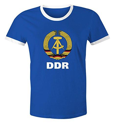 MoonWorks Herren WM-Shirt DDR Fan Nostalgie 2018 Retro Blau-Weiß L