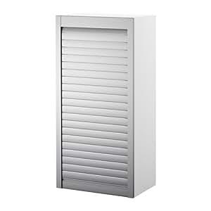 IKEA AVSIKT - Roll-front cabinet, white, aluminium