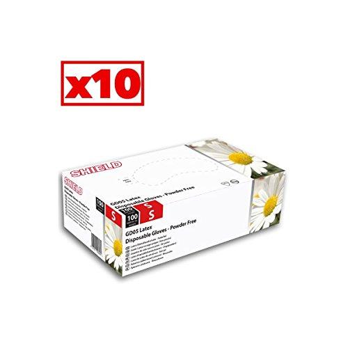 Guanti in lattice bianco Shield–Cartone Di 10scatole di 100–AQL–GD05_ 10