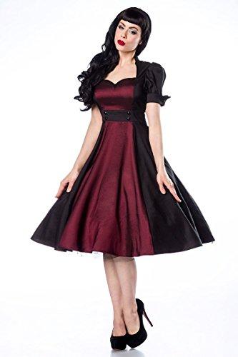Sixties Rockabilly Satin Kleid im Retro Style in schwarz / burgund (S)