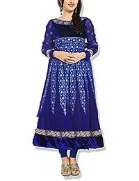Cloud India Women's Georgette Unstitched Dress Material (Blue)