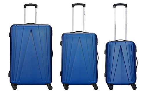 Travelfirst Kofferset - Spacestar - 3-teilig (M, L & XL), Dunkelblau, 4 Rollen, Koffer mit Zahlenschloss, Hartschalenkoffer (ABS) Robuster Trolley Reisekoffer
