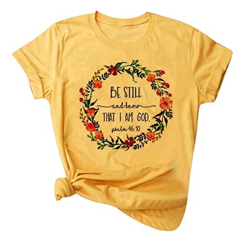 LRWEY T-Shirt à Manches Courtes décontracté pour Femmes Mode Impression Col Rond T-Shirt Ample Blouse Tops