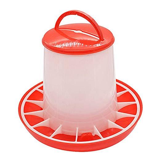 Amyove Alimentador de 1.5 kg Herramienta de Cubo con manija de Tapa para gallina de Pollo Aves de Corral de alimentación Suministros de riego
