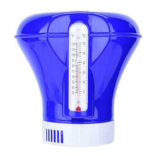 wuweiwei12 Dosierschwimmer Floating Chemical Chlorspender mit Thermometer Chemikalienschwimmer für Pool Spa Chemische Tablettenspender -