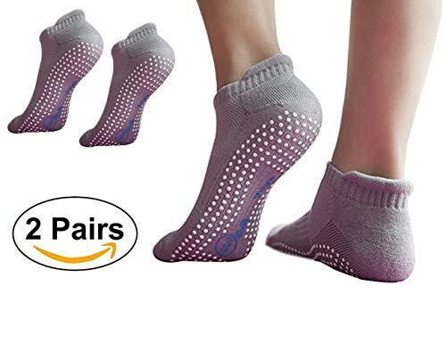 LOVARTS BEAUTY 2 Paare Damen und Herren Yoga Socken mit Gummisohlen Atmungsaktiv Rutschfeste Yogasocken aus Baumwolle für Pilates Tanz Barre Fitness