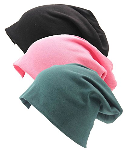 I VVEEL Damen 3 Pack Baumwoll Stretch Beanie Hut