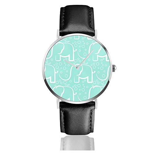 Business Analog Watches,Baby Jungle Bubble Mint Elefant Classic Stainless Steel Quartz Waterproof...