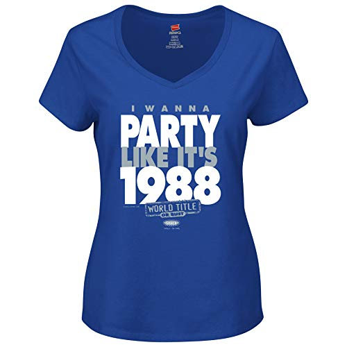 Smack Apparel La Dodgers Fans. I Wanna Party Like It 's 1988. Royal Blau Damen V-Ausschnitt (sm-5 X), Damen, Königsblau, Medium -