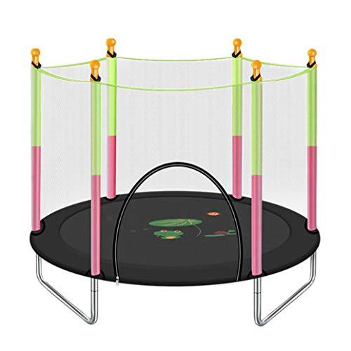 YGUOZ Garten Kinder Trampolin, Startseite Indoor Outdoor Trampolin mit Sicherheitsnetz Sprungmatte Hochfeste Federn, Trampolin Set Spieleladen,Black_55in