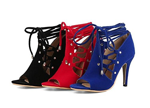 Beauqueen Pumps Mesh Wildleder Sandalen Peep-Toe Stiletto Ferse Lace-up Frauen Büros Casual Elegant Sandalen Customized Europa Größe 33-46 Blue
