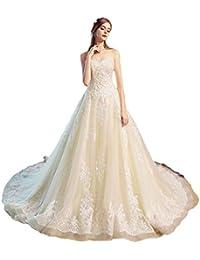 Vestido de novia Largo de Cola de Lujo Corte Europea y Americana Princesa Simple Vestido Delgado