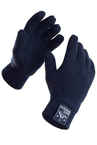 Wärmende Fäustlinge (Manufaktur13 Rough Gloves - Handschuhe, Vollfingerhandschuhe, Unisex Strickhandschuhe mit Thinsulate Futter in verschiedenen Größen/Farben (L/XL, Navy))
