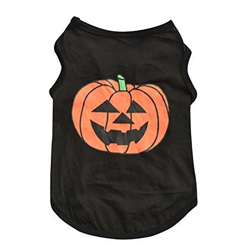 Leisial Ropa para Mascotas Algodón de Halloween Calabaza Perros Sueter del Perrito de la Camiseta Caliente Animales