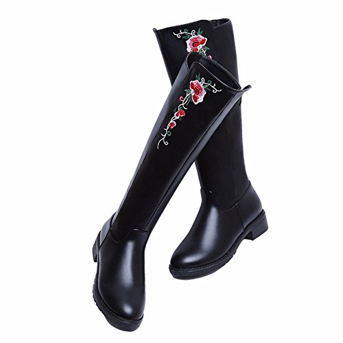 HOMEE Femmes S Bottes Cylindre Bottes Brodé National Vent Plat Semelle Chaussures Automne Hiver Chaussures 37 Eu