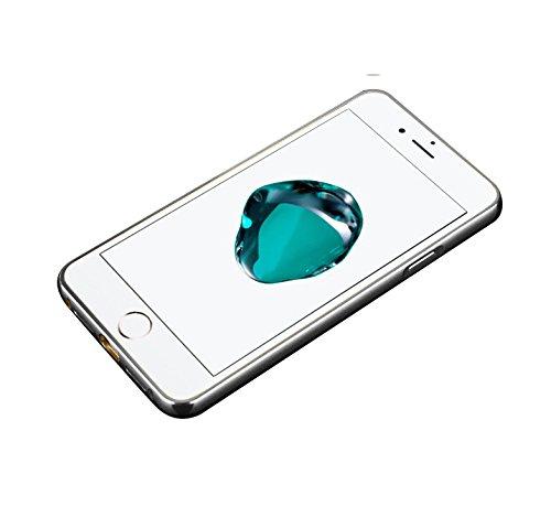 Minto Luxus Aluminium Metall Spiegelhülle Schutzhülle + Panzerglasfolie iPhone 5 / 5S / SE Spiegel PC Rückseite Case Cover Hülle Gold + Metall Bumper Rahmen Echtglas Hartglas Schutzfolie 9H Silber -i7