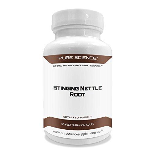 Pure Science Brennessel Wurzel Extrakt 500mg (300mg standardisierter Extrakt bei 2 % Kieselsäure und 200mg Brennessel Wurzel Pulver) - Fördert die Gesundheit der Prostata und die Harnsäure erhöht die Ausscheidung, freies Testosteron - 50 vegetarische Kapseln