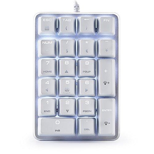 Ferienverkauf Mechanische Zifferntastatur 21 Tasten mit CHERRY Blauer Switches Weißes Backlit Mini Numpad für iMac / MacBook - Weiß Magicforce by Qisan