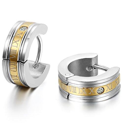 Gold-ohrringe Männer (JewelryWe Schmuck Herren Ohrringe, Edelstahl, Römischen Ziffern Creolen Ohrstecker, Gold Silber)