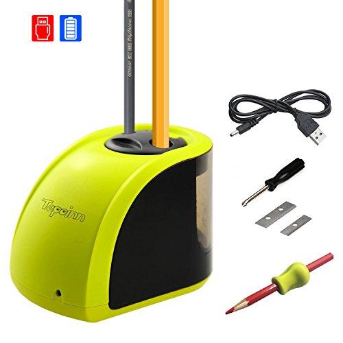 Tepoinn Batteriebetriebener elektrischer Bleistiftspitzer Perfekt für Haus, Büro & Schule, schäft Bleistift an vollkommenem Punkt, kompakt und Zuverlässig (Gelb)