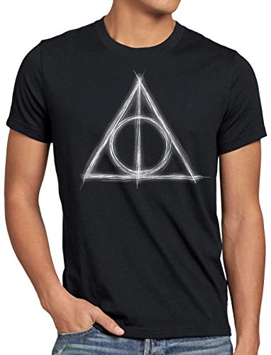 CottonCloud Heiligtümer Herren T-Shirt Magie Besen Deathly Hollows, Größe:XL, Farbe:Braun