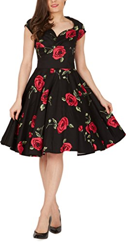 BlackButterfly 'Ruby' Infinity Vintage Rockabilly Floral Pin Up Dress (Black – Large Red Roses, UK 10)