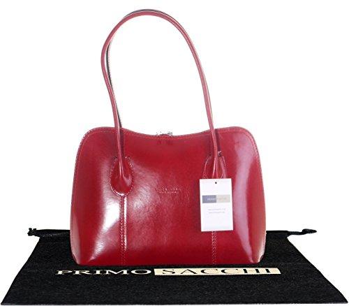 Cuoio lucido liscio italiano classico stile borsetta Tote Grab Bag o borsa a tracolla.Include una custodia protettiva marca Rosso
