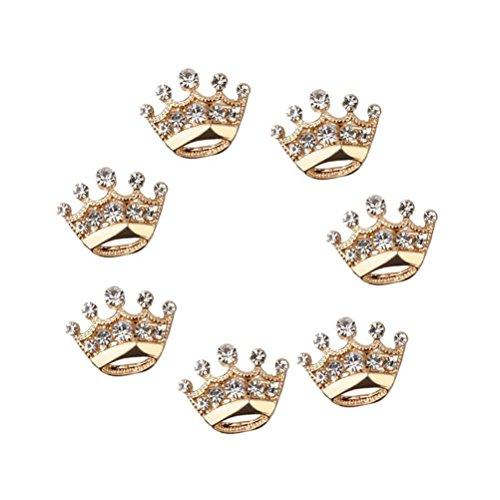 OULII Desfile fiesta Tiara corona ramillete broche de diamante boda Pin 12pcs (oro)