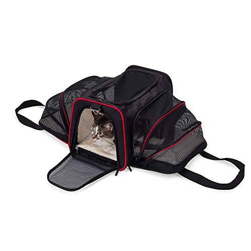ABISTAB Hundebox faltbar Transportbox Hunde und Katze Transporttasche für Auto- und Flugreisen geeignet Tragetasche Maxi 72cm zweiseitig ausklappbar:1-Schwarz-Kirschrot