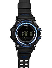 Smartwatch Andorid o IOS Demiawaking Podómetro Notificación de Llmadas SMS con WhatsApp Reloj Inteligente Actividad Hombres Deportivo Resistente al Agua IP67 con Bluetooth 4.0 de Cronómetro Calorías