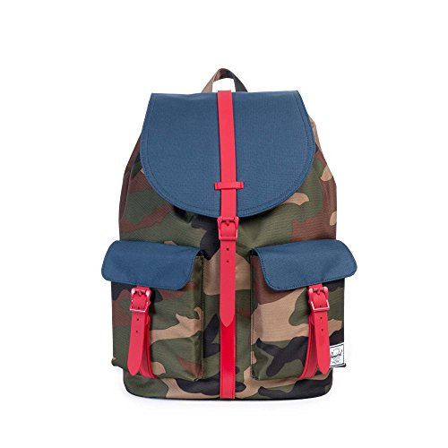 any SS16 Casual Daypack, 13 Liters, Woodland Camo/ Navy/ Red (Camo Handel)