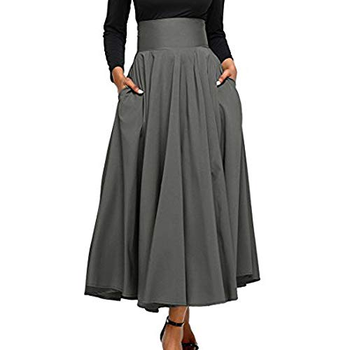 Goosuny Damen A-Linien Falten Röcke Normallack Hoher Taillen Lange Swing Rock Gefalteter Front Slit Belted Maxirock Herbst Winter Plissee Strandrock Knöchellang Mit Bowknot(TiefGrau,L) Belted Button Strap Dress