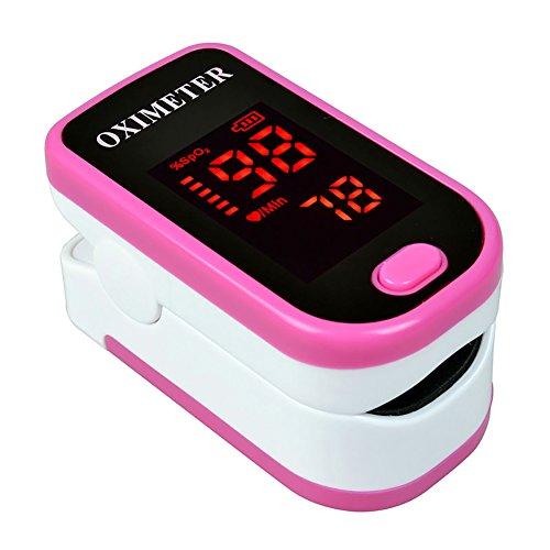 KOSHSH Finger-Pulsoximeter-Ausgangs-Sauerstoff-Sättigungs-Oximeter Bezieht Sich auf Puls-Sauerstoff-Herzfrequenz-Messgerät,Pink