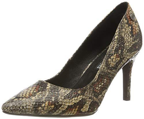 XTI 35141, Zapatos de tacón con Punta Abierta para Mujer, Marrón Camel Camel, 36 EU