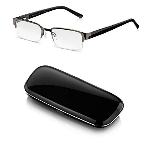Read Optics Lesebrille mit Etui +3,0 Dioptrien für Herren: Schwarze Retro Brille mit Hardcase Brillenetui. Lesehilfe mit Halbrand, Federscharnier und rechteckigen, entspiegelten Gläsern mit Sehstärke