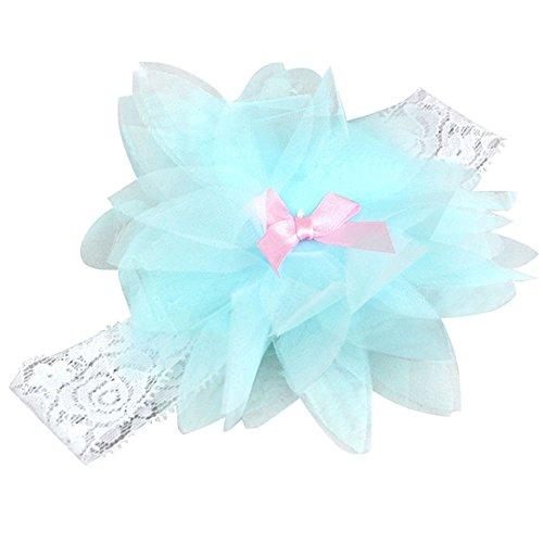 TOOGOO(R) Enfants Bebe Fille Bandeau Serre-tete Mariage Elastique Volants Fleur Noeud Souple - bleu