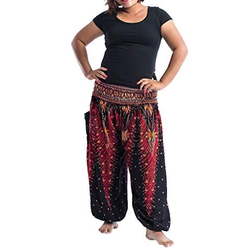 men Nationaler Stil Hose Große Größe Baggy Boho Freizeithose Fett Schlank Sporthose Training Hose(Schwarz 2,One Size) ()