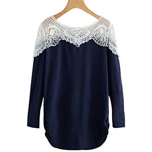 Fancathy Damen Kontrast Hollow Out Spitzen Langarm T-Shirt Top mit Aushöhlen und Häkelarbeit Damen Baumwolle Patchwork Häkeln Shirt Pullover Blusen ,  ( Dunkelblau - XL )  (Polyester-bluse Top)