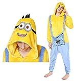 Lelike Minions Schlafanzug Jumpsuit Fleece Pyjama Halloween Tier-Kostüm Faschingskostüm für Erwachsense L