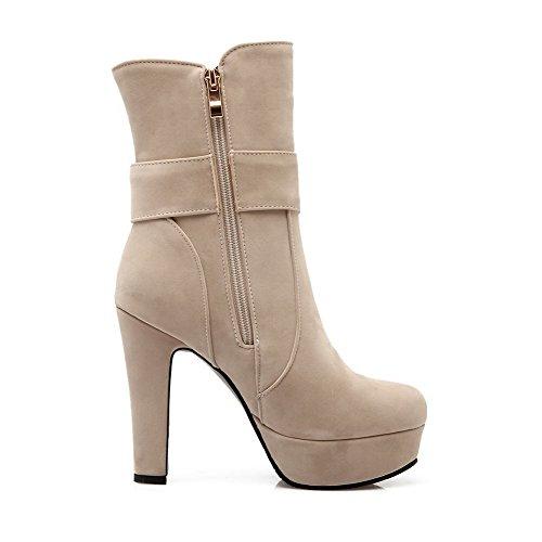 AllhqFashion Damen Reißverschluss Hoher Absatz Mattglasbirne Rein Niedrig-Spitze Stiefel Cremefarben