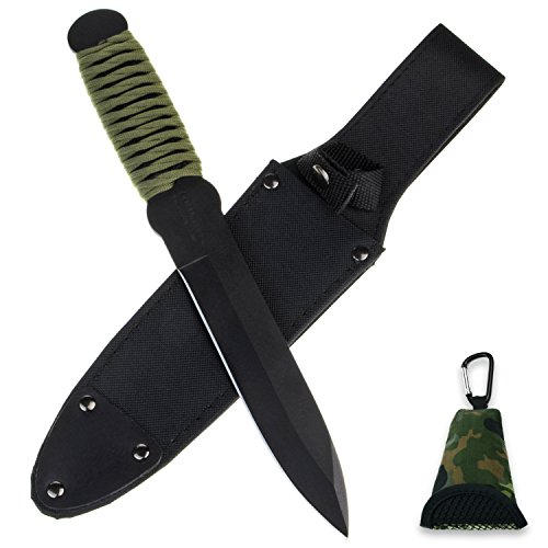 COLD STEEL Profi Wurfmesser Set True Flight Thrower aus Carbon-Stahl + Holster + BW Buddy Towel Microfaser-Tuch