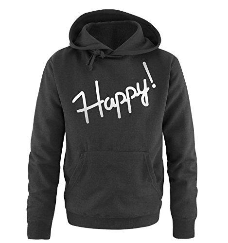 Comedy Shirts - Happy! - Uomo Hoodie cappuccio sweater - taglia S-XXL vari colori Nero/Argento
