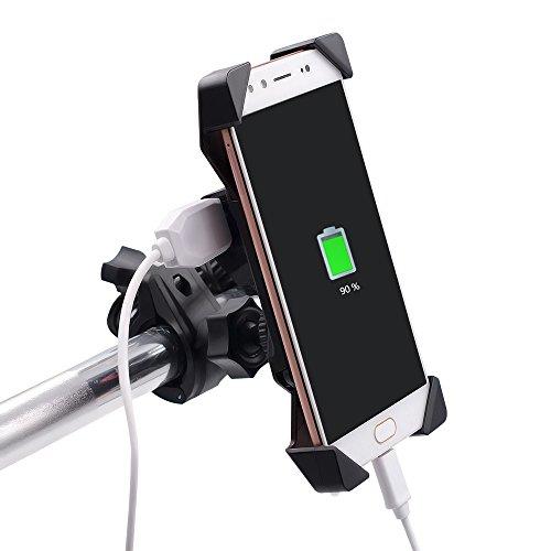TurnRaise Universal Motorrad Halterungen mit Wasserdichten 2.1A USB-Aufladen Anschluss für 3.5 to 6 inch Screen High-speed-wandler
