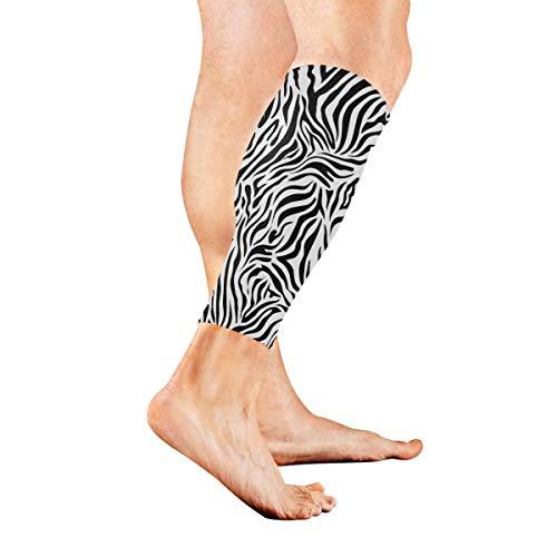 KAOROU Zebra-Schwarzweiss-Streifen-Waden-Kompressions-Hülsen-Bein-Kompressions-Socken für Schienbeinschiene-Waden-Schmerz-Entlastungs-Mann-Frauen und Läufer verbessert Kreislauf-Wiederaufnahme -