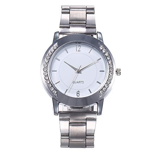 Floweworld Quarzuhren für Damen High-End-Blue Glass Life wasserdichte Uhren mit Edelstahl überzogenem Armband -