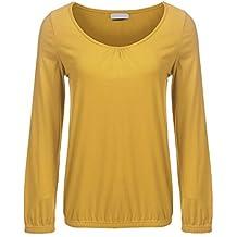 Meaneor Damen Langarm V Ausschnitt Oversize Lose Bluse Shirt Oberteil mit  Gummizug am Saum bf22f55879